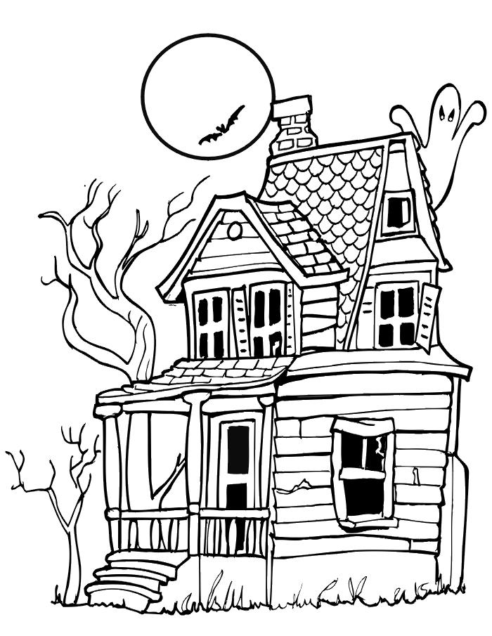 Haunted House Free Halloween Coloring Pages Free