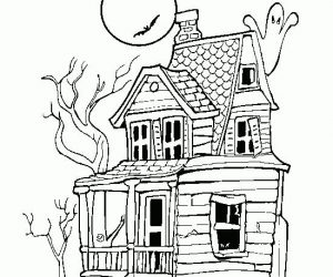 Haunted house halloween color pages to printable 1