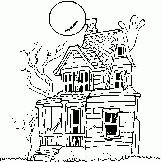 Haunted House Halloween Color Pages To Printable