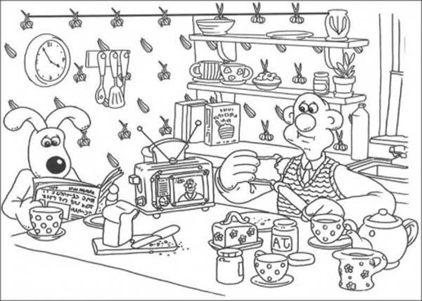 Having Breakfast Coloring Page