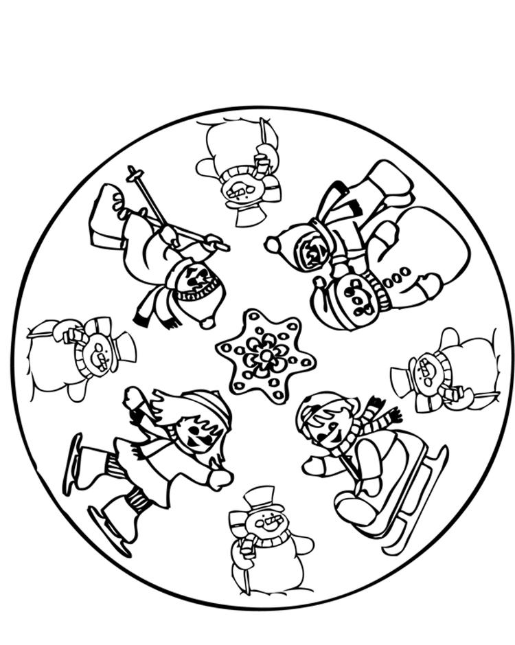 Having fun in winter coloring pages