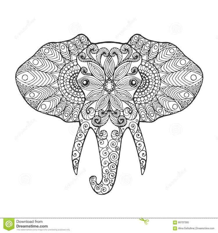Head Abstract Elephant Coloring Pages For Adults