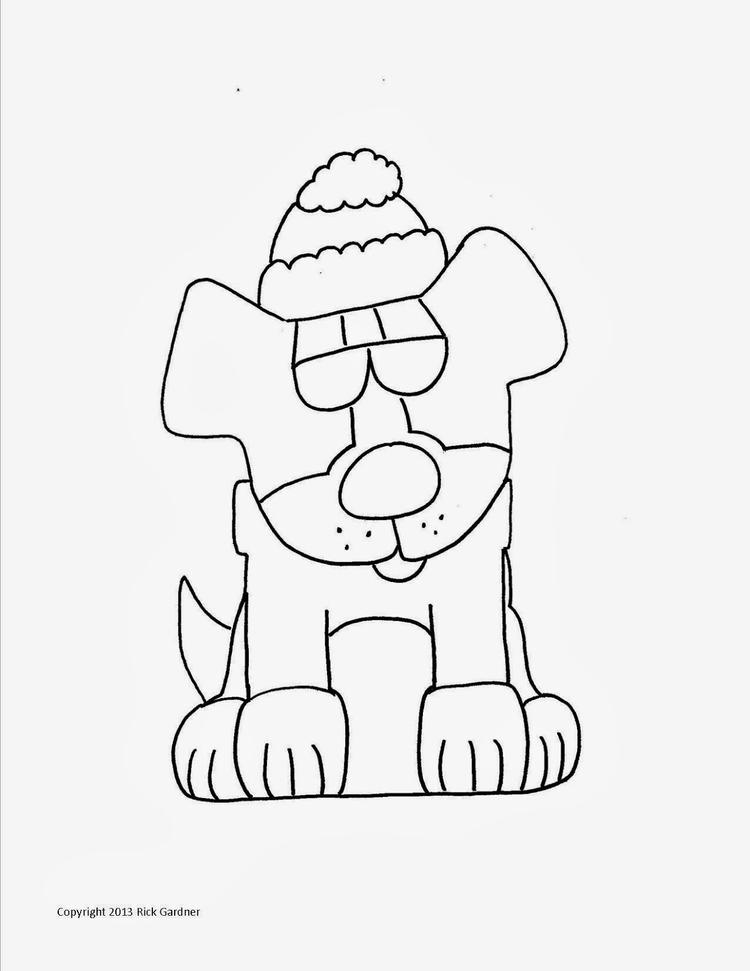 Head Christmas Dog Coloring Pages
