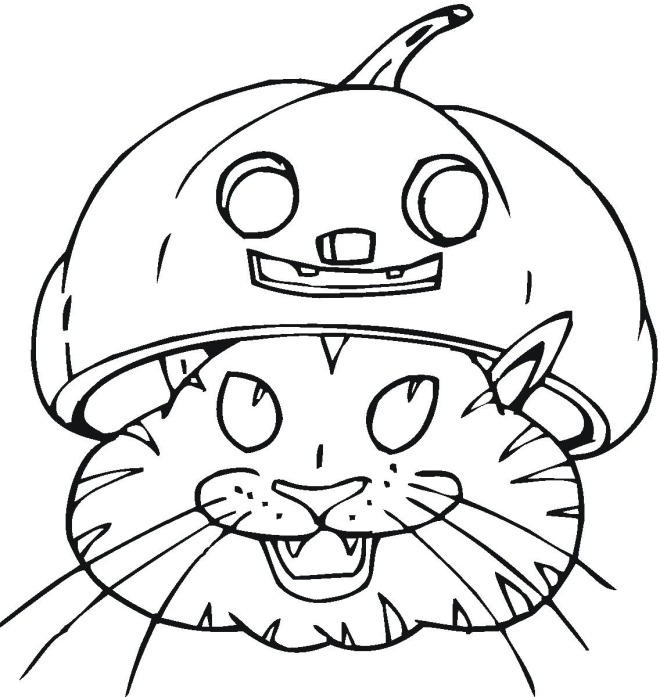 Head Halloween Cat Coloring Pages