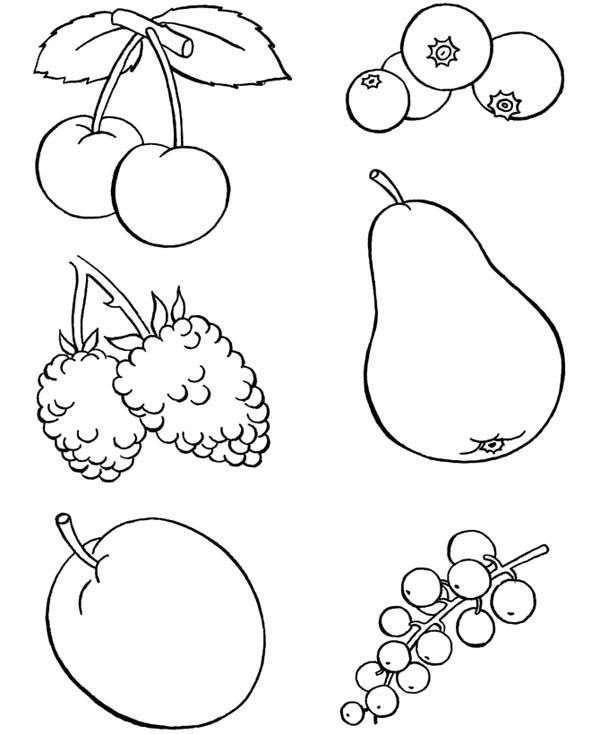 Healthy Food Fruits Coloring Pages