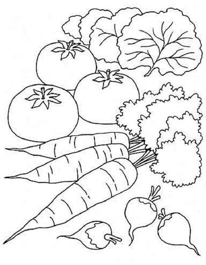 Healthy Vegetables Coloring Pages
