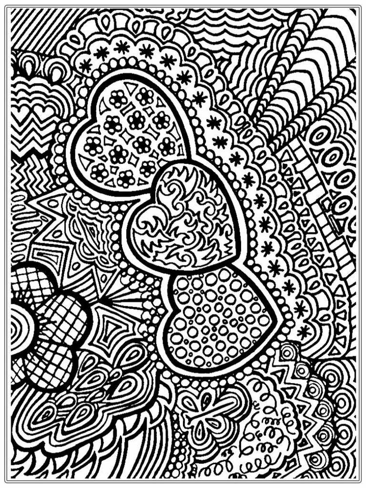 Heart Adult Flower Coloring Pages Printable