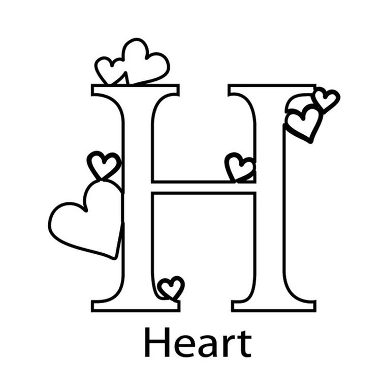 Heart Alphabet Coloring Pages Printable