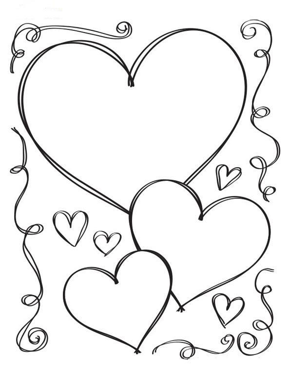 Heart Coloring Pages Cute Love