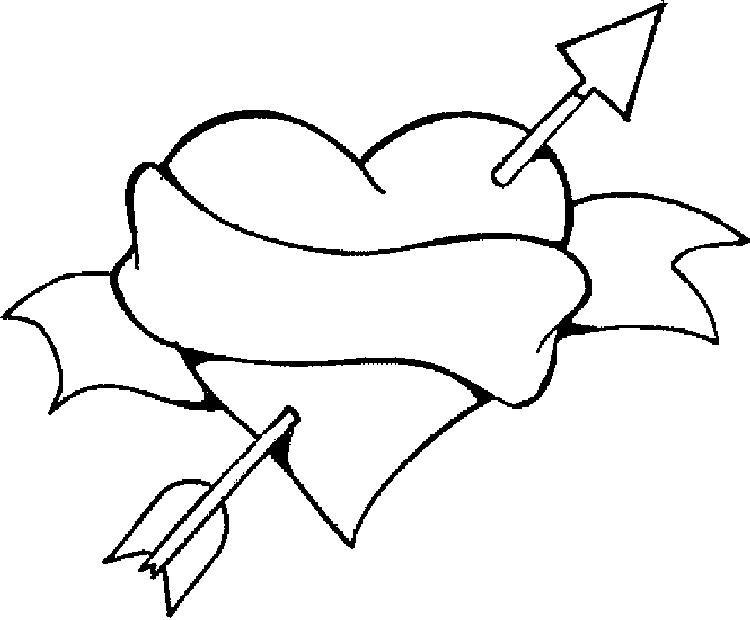 Heart Coloring Pages Love Arrow