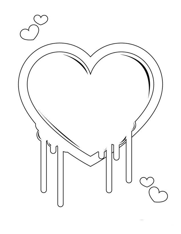 Heart Coloring Pages Melting Hearts