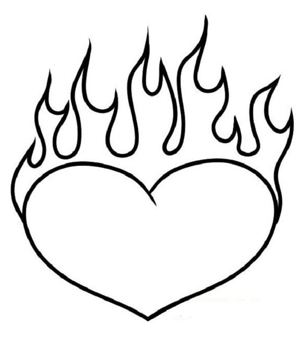 Heart Coloring Pages With Flames