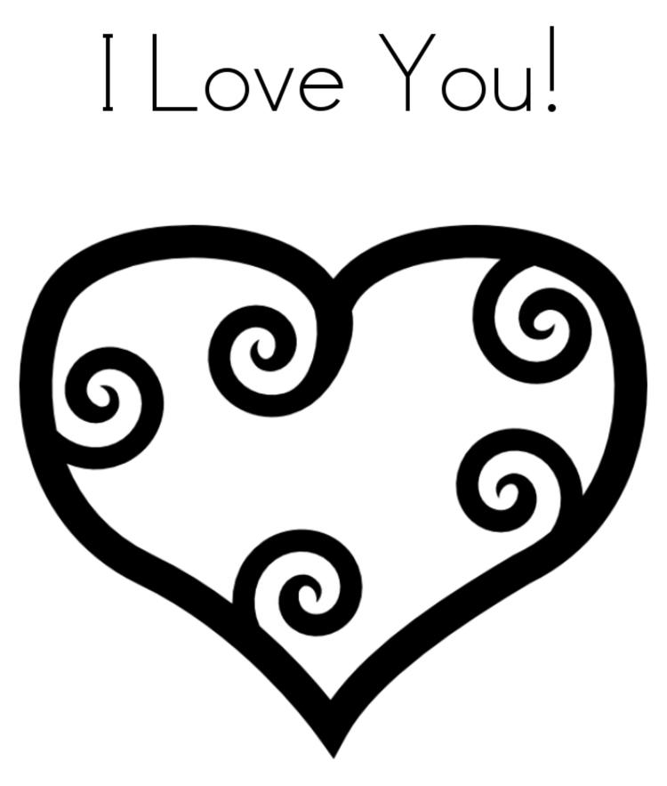Heart I Love You Valentine Coloring Page