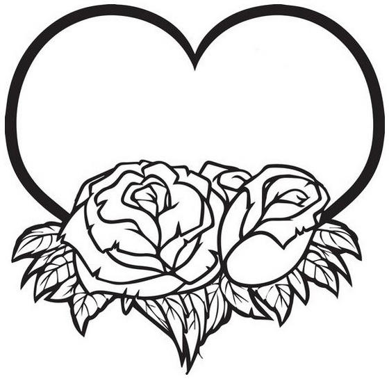Heart Love And Roses Coloring Pictures