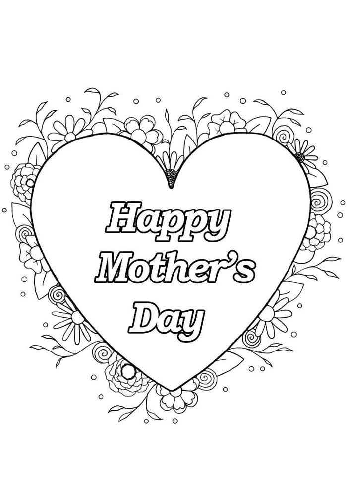 Heart Mothers Day Coloring Pages