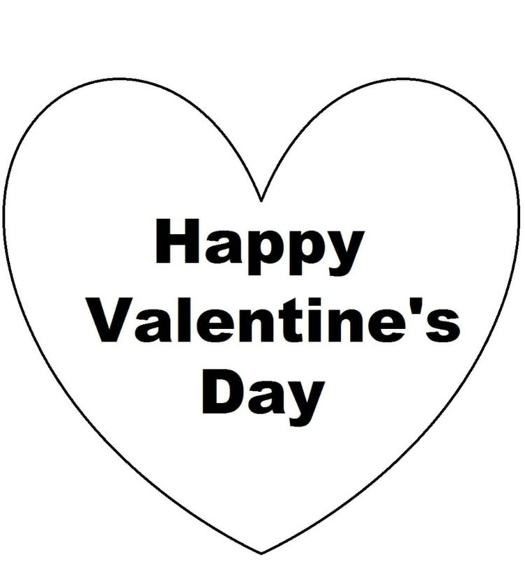 Heart Of Happy Valentines Day Coloring Pages