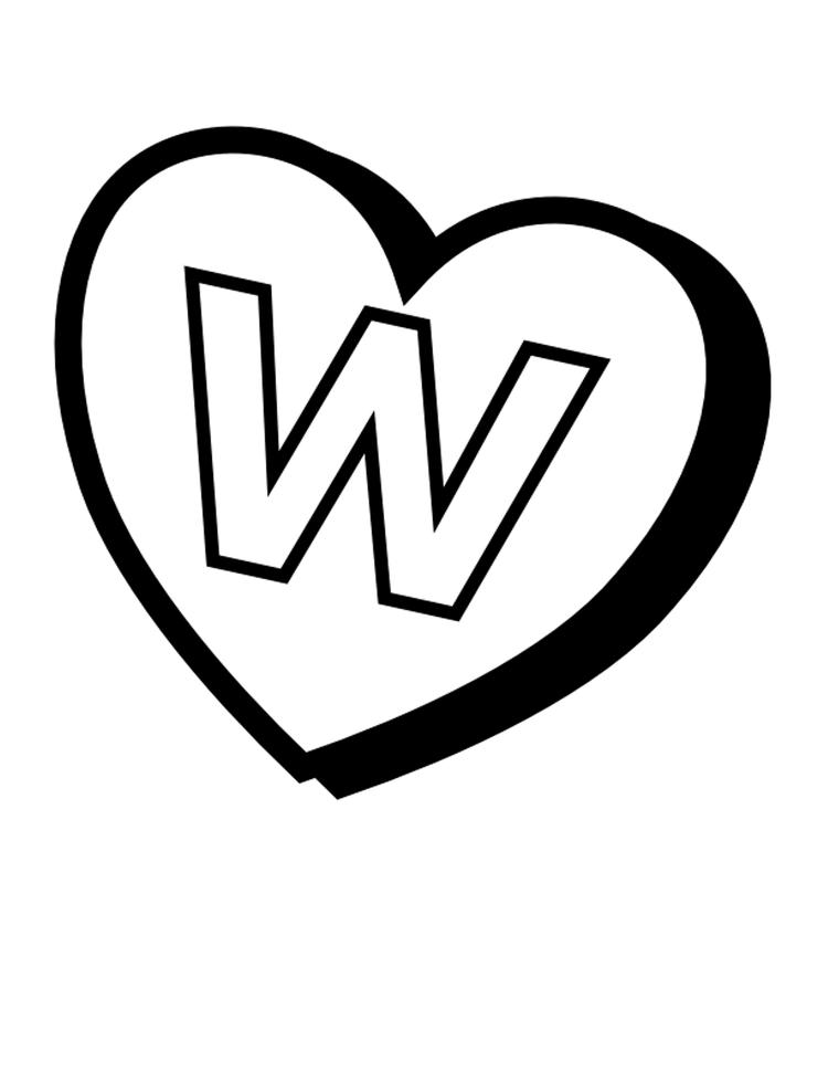 Heart Of W Free Alphabet Coloring Pages