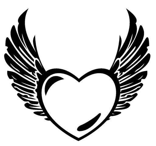 Heart With Wings Coloring Pages Black