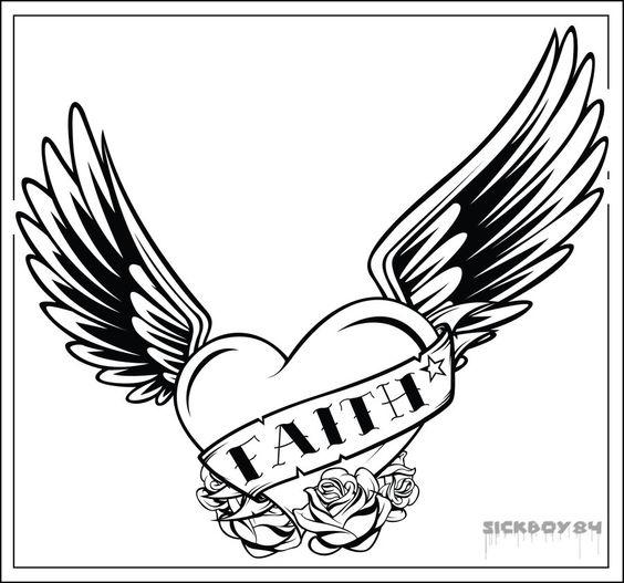Heart With Wings Coloring Pages Faith