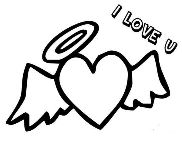 Heart With Wings Coloring Pages I Love You