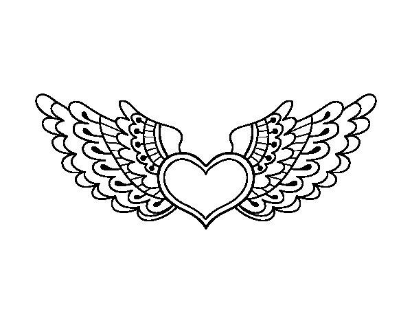 Heart With Wings Coloring Pages Printable