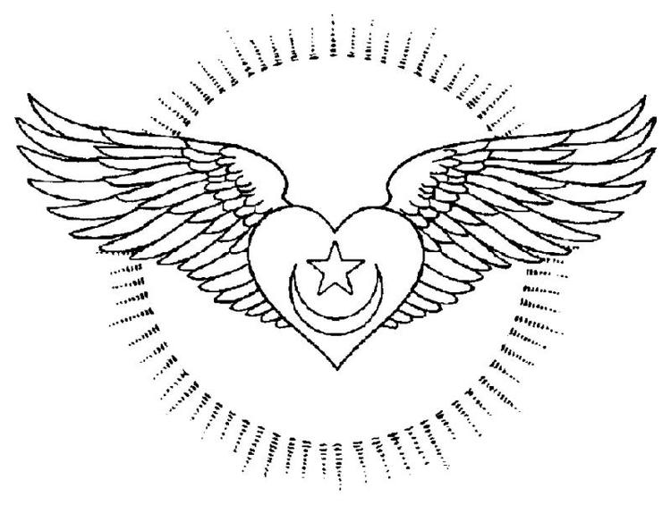 Heart With Wings Coloring Pages With Star And Moon