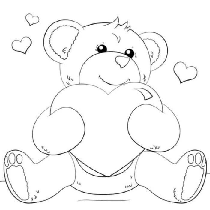 Hearts And Teddy Bear Coloring Pages