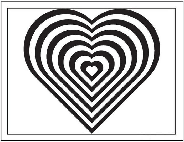 Hearts Illusion Coloring Pages