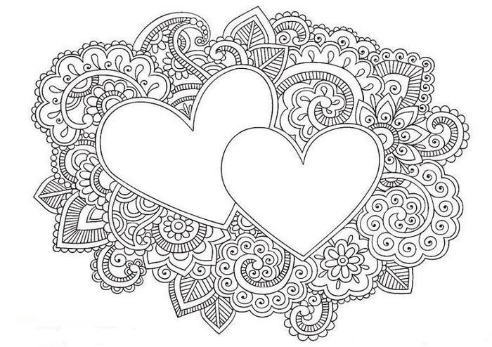 Hearts Stress Relief Coloring Pages