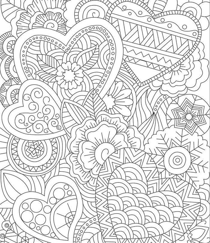 Hearts Zentangle Coloring Pages