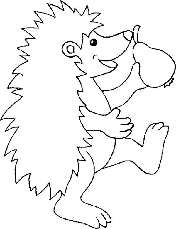 Hedgehog Eating Pear Coloring Pages