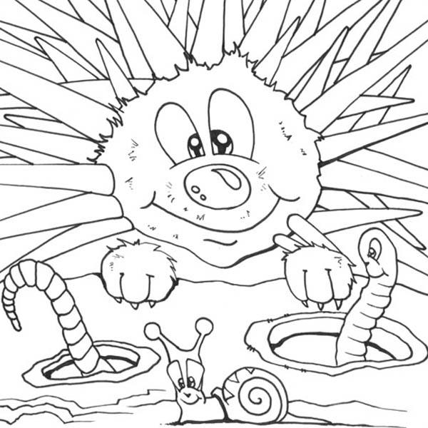 Hedgehog Meet Worm And Snail Coloring Pages