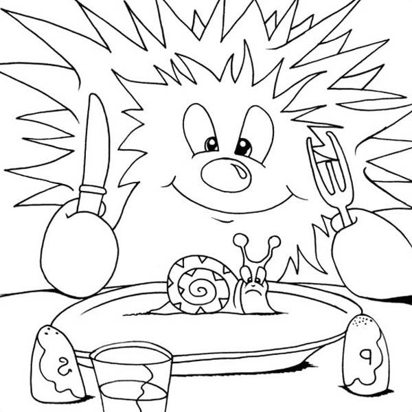 Hedgehog Ready To Eat Snail Colouring Pages