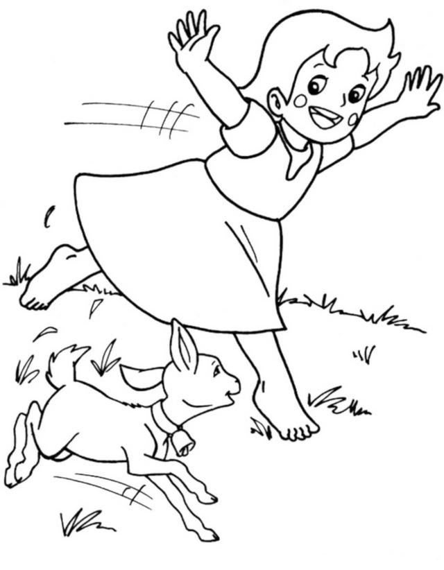 Heidi Running With A Dog Coloring Picture