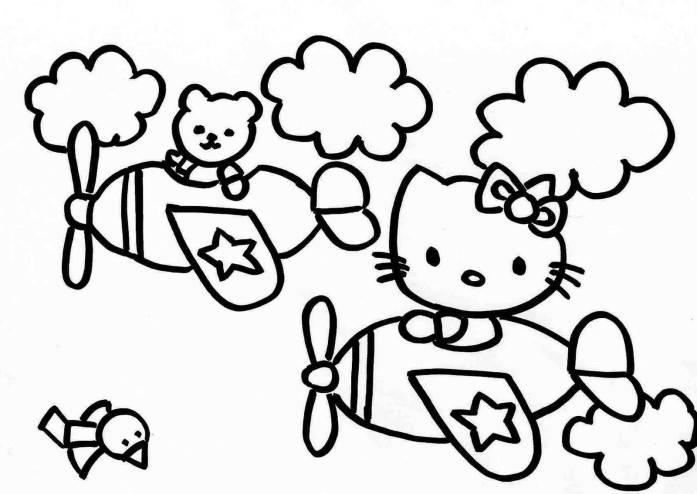 Hello Kitty And Friend Piloting Coloring Pages