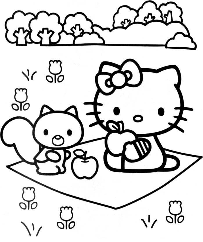 Hello Kitty And Larry On The Garden Coloring Page