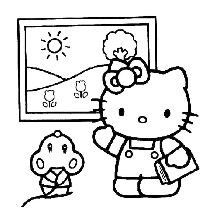 Hello Kitty At Museum Coloring Pages