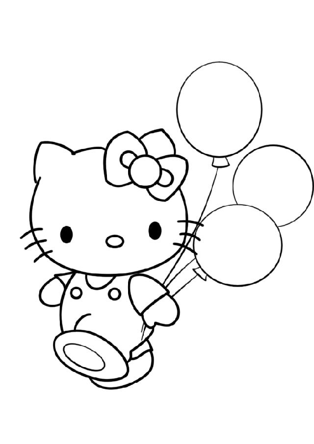 Hello Kitty Balloon Coloring Pages