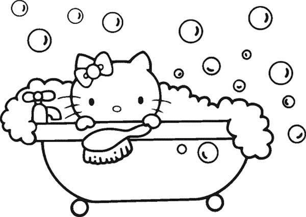Hello Kitty Bubble Bath Coloring Pages