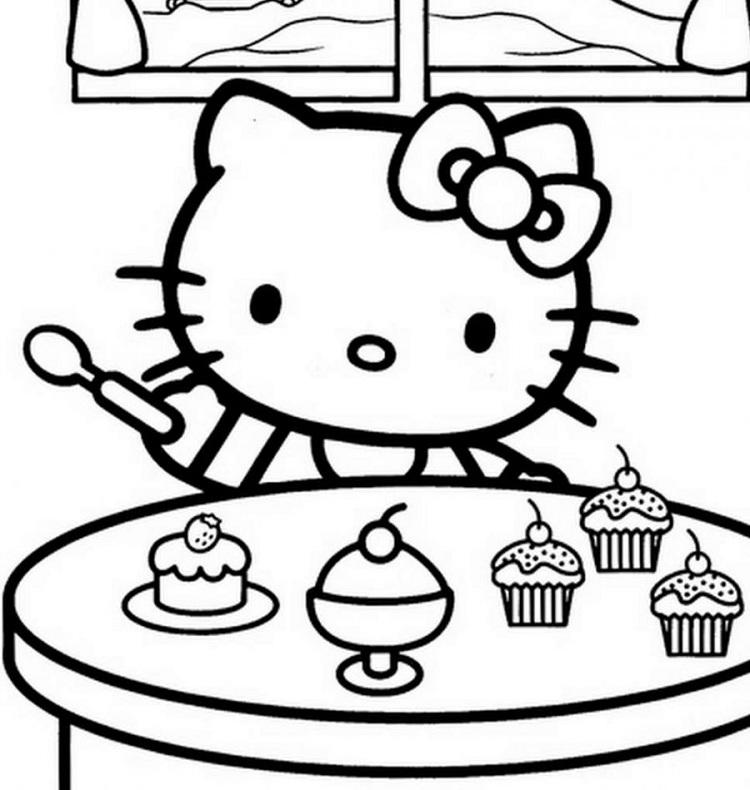 Hello Kitty Cake Coloring Pages