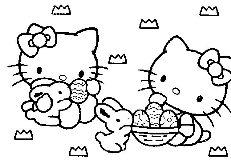 Hello Kitty Cartoon Preschool Coloring Pages Easter