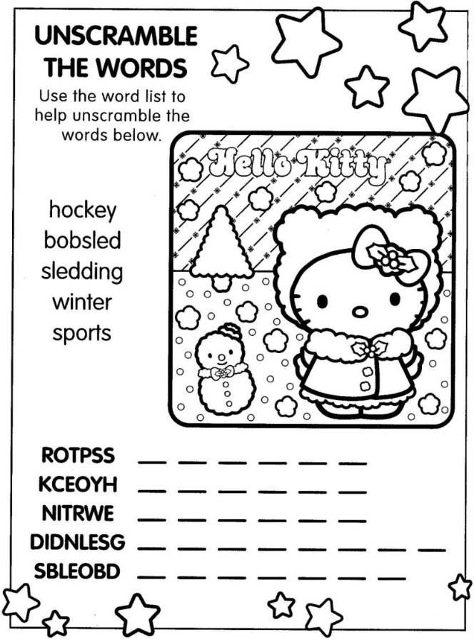 Hello Kitty Christmas Coloring Page With Word Scramble