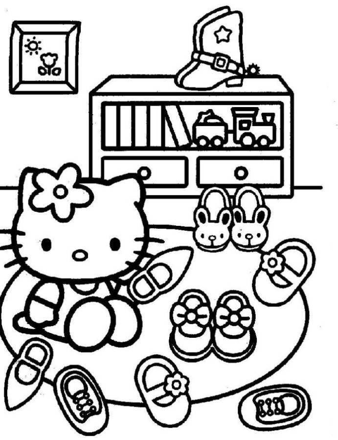 Hello Kitty Cleaning Shoes Coloring Pages