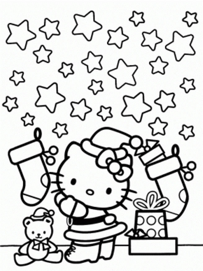 Hello Kitty Coloring Page Christmas And Stars