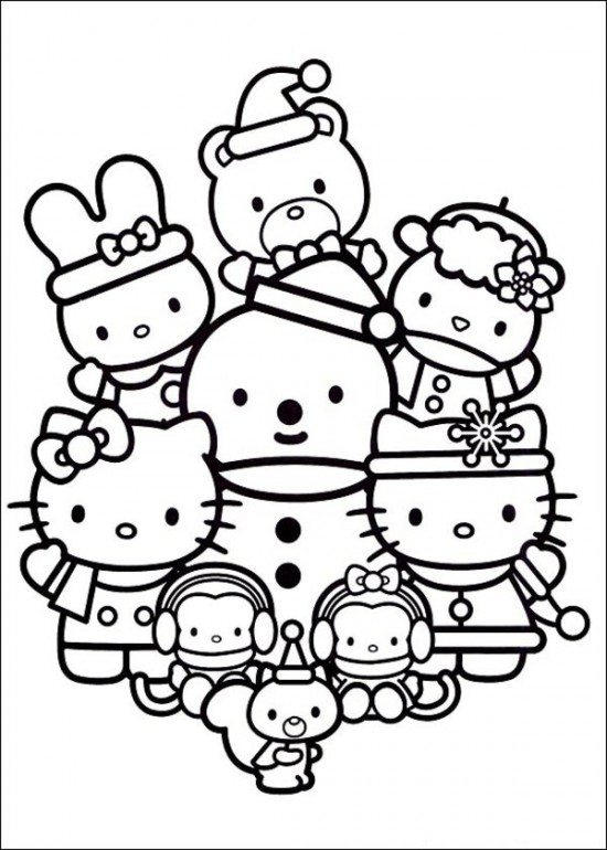 Hello Kitty Coloring Page Christmas With Friends