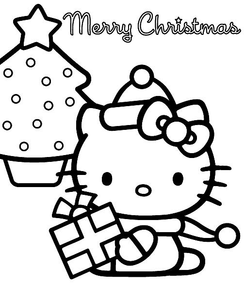 Hello Kitty Coloring Page Christmas