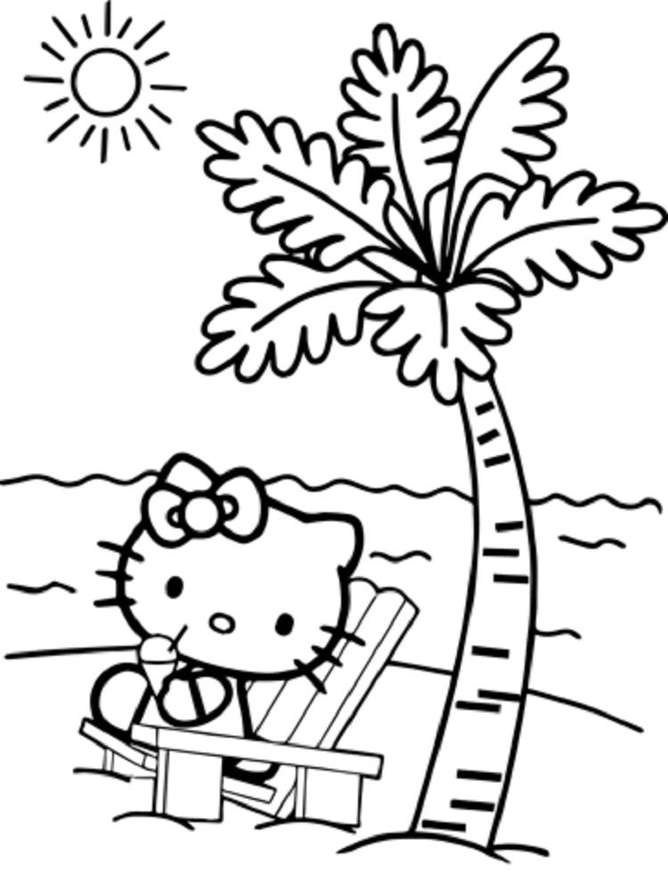 Hello Kitty Coloring Pages Beach