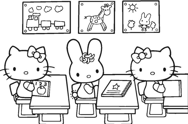 Hello Kitty Coloring Pages In Class