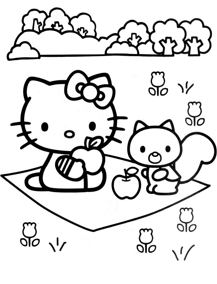 Hello Kitty Coloring Pages In Garden