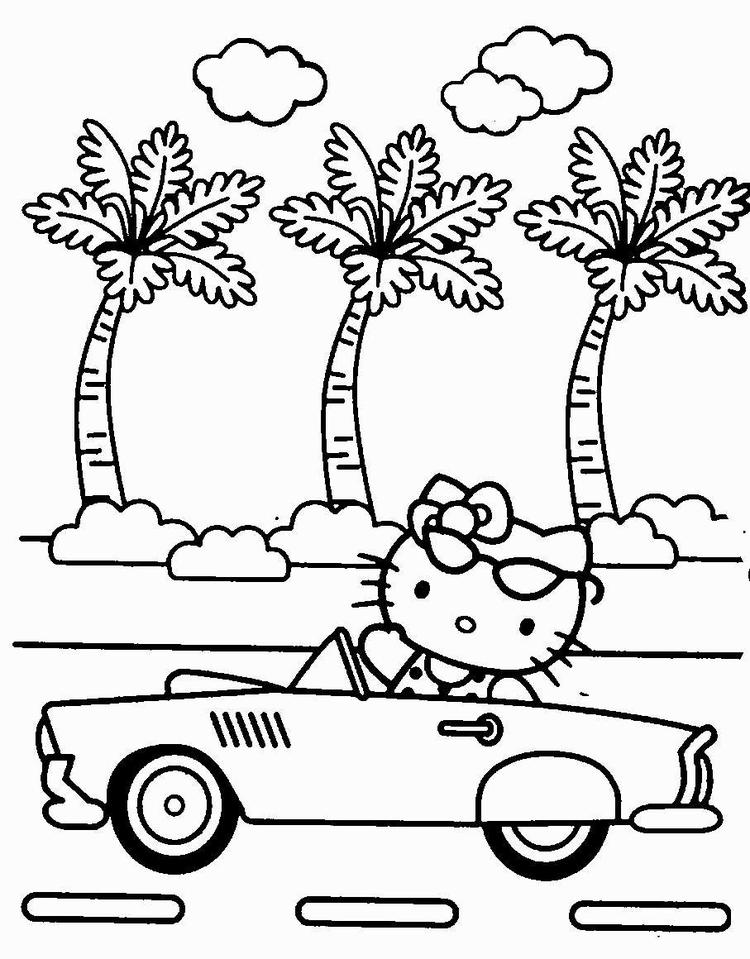 Hello Kitty Coloring Pages Riding A Car